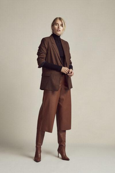 Vegan Leather Culotte Cognac