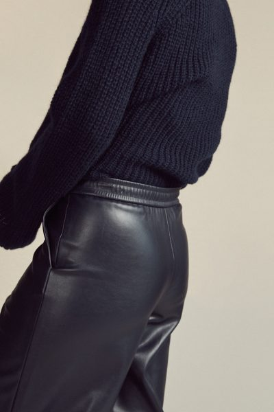 Vegan Leather Culotte Navy