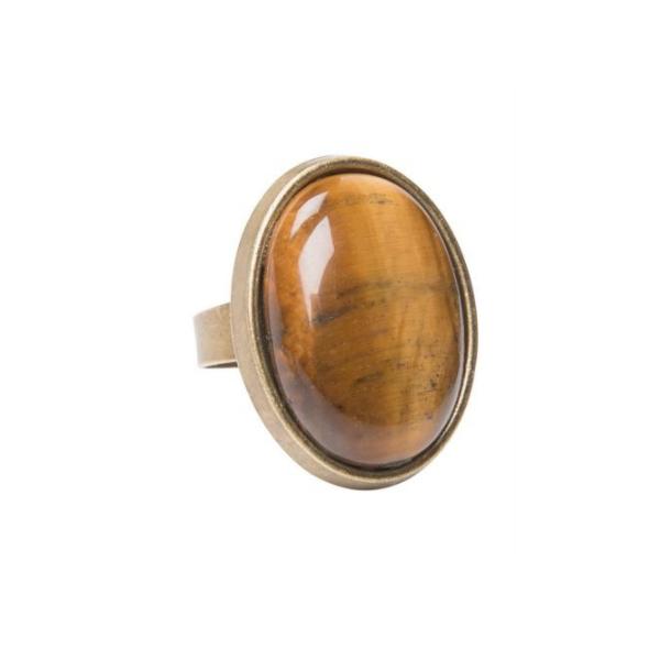 Bronzen ring met ovale Gemstone - one size