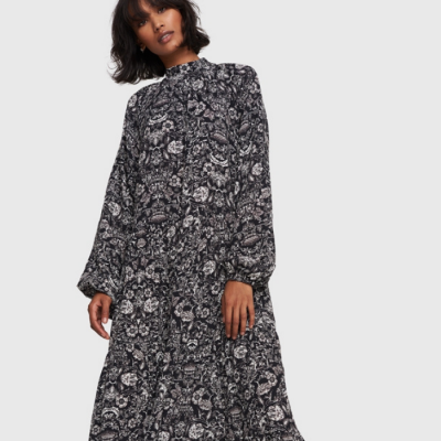 Ladies Woven Flower Linen Dress