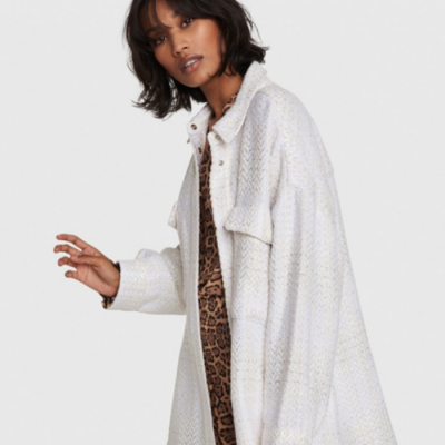 Ladies Woven Oversized Shiny Boucle Jacket