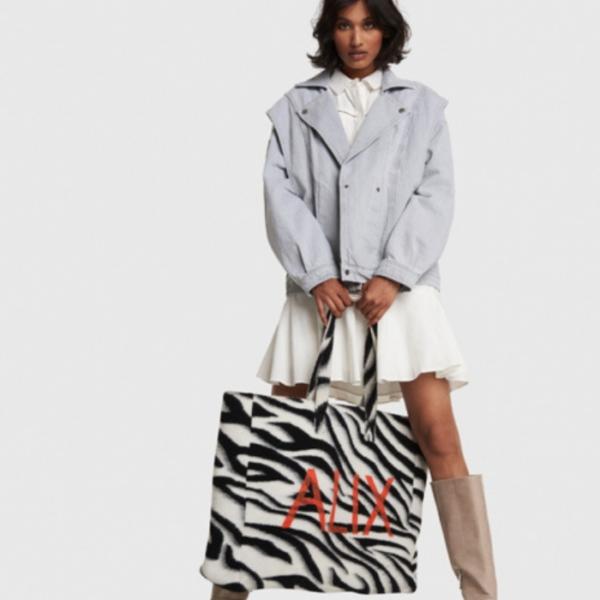 Ladies Woven Zebra Felted Alix Bag